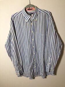 Gant Mens Blue Striped Button Shirt Size XL Long Sleeve Egyptian Cotton
