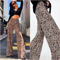 Zara Leopard Animal Print Palazzo Wide Leg Pants Trousers S UK 8 US 4 Blogger ❤