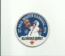 SCOUT BSA 1974 ST. PAUL MN WINTER CARNIVAL KLONDIKE DERBY SNOWMAN PATCH IHC !!!!