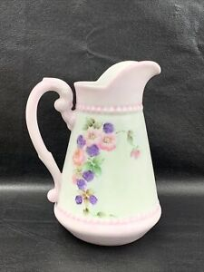 """Ceramic Pitcher Home Decor Beverage White Pink Flowers Roses 7.75"""" T X 6"""" W"""