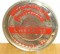 Vintage Wisconsin Fruitland Cherries Tin / Metal Can Lid Sturgeon Bay (Lid Only)