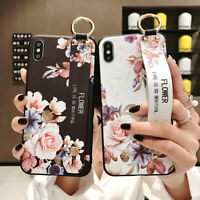Flower Cute Cat Phone Case Cover +Wrist Strap For iPhone X XS Max XR 6S 7 8 Plus