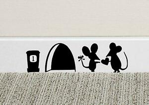 Mouse Love Heart Skirting Board Wall Art Funny Sticker Vinyl Decal Mice Home