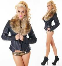 Womens Jacket Faux Fur Collar Leather Biker Jacket Removable collar size 8-14
