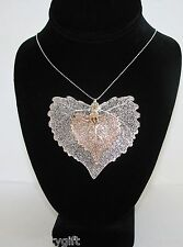 REAL JUMBO 2 PCS, 2 TONE REAL SILVER+ROSE GOLD COTTONWOOD LEAF PENDANT NECKLACE