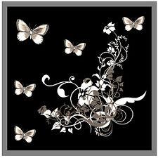 Gris/Negro Mariposa & Flores - Juego de 4 Posavasos - Regalo - Nuevo