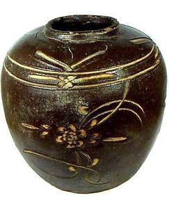 Ming China Antique Incised Glazed Ceramic Vase 17th Century Large Exquisite
