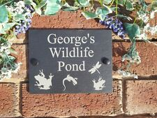 Personalised Garden Wildlife Pond Natural Slate Plaque 13x17cm