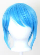 12'' Bob Cut Sky Blue Synthetic Cosplay Wig NEW