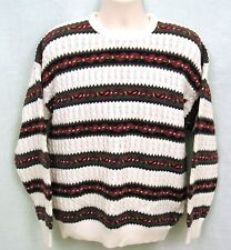 Mens Sweater White Red Blue Green Sz Medium Cable Knit Claiborne Vtg Made USA
