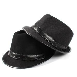 Men Winter Fashion Leather Fedora Hat Church Gentleman Felt Jazz Cap Size 58CM