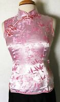 Traditional Women's Chinese Sleeveless T-Shirt Brocade Blouse Top Pink Color