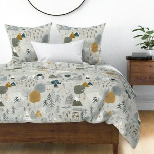 Mountain Woodland Baby Nursery Adventure Awaits Sateen Duvet Cover by Roostery