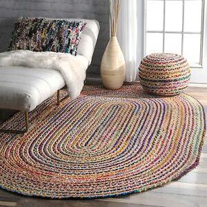 Cotton Rug Jute Oval Oriental Carpet Handmade 4x6 Feet Reversible Shaped Floor