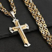 2020 Herren Edelstahl Halskette Panzerkette mit Kreuz Anhänger Silber Gold