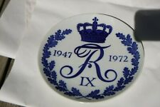 Antique Royal Copenhagen Commemorative Porcelain Plate King Frederik IX 1972