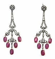 7.72 ctw. Diamond Natural RED Ruby Drop Earrings 18 K Gold Black Rhodium 9.9 g