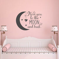 Nursery Wall Decal, I Love You to the Moon and Back, Moon Star Vinyl Removable
