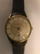 Skagen 474XLGL horloge met leren band