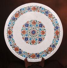 "12"" White Marble Corner Table Top Semi Precious Stone Floral Inlay Home Decor"
