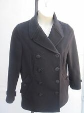 Paul Smith Blue Nautical Women Solid Black Double Breasted Coat Jacket Sz 12