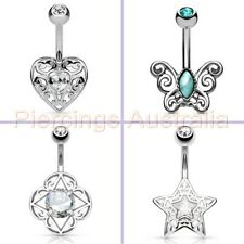 Fancy Filigree Belly Button Navel Bar Ring Body Piercing Jewellery