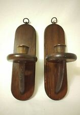Vintage pair Basketville wood wall hanging sconce candle holders
