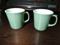Vintage Pyrex Sage Green Milk Glass Mugs Set of 2 Mid Century Coffee Tea Cups