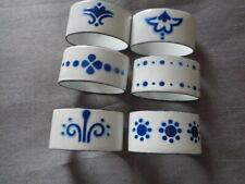 SWEDISH BLUE ENAMEL NAPKIN RINGS X 6