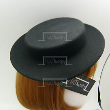 CLASSIC Wool Felt Women Fascinator Ladies Mini Boater Top Hat Panama NEW   Black