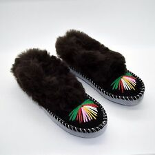 Womens Ladies Slippers Natural Leather Sheepskin Moccasins Handmade Shoes Dark UK 6 / EU 39
