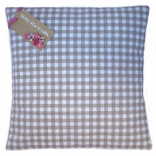 Designer Clarke and Clarke Gingham Taupe Beige fabric Cushion Cover