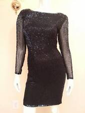 KATHRYN CONOVER Vintage Black Party Cocktail Dress Mini LongSleeve Sequin Formal