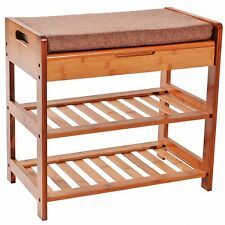 2 Tier Bamboo Shoe Rack Cushion Storage Draw Foot Stool organizer Storage Shelf