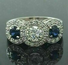 2.80Ct White & Blue Round Cut Three Stone 14k White Gold Finish Engagement Ring