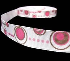 "2 Yards Pink Brown Disc Polka Dots Polkadots Grosgrain Ribbon 7/8""W"