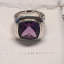 David Yurman Amethyst and Sterling Silver Split Shank 14mm Albion Ring Size 6
