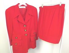 WOMANS TAHARI USED RED TWO PIECE SKIRT AND BLAZER KOREA SZ 12