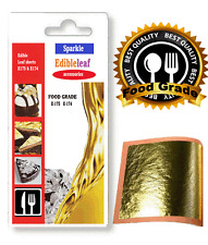 NEW E-175.FOOD GRADE  100% Pure 24k Gold Leaf Edible  Sheets Cake Baking