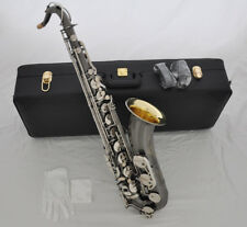 Professional Black Nickel Tenor Saxophone Bb sax gold bell with new case