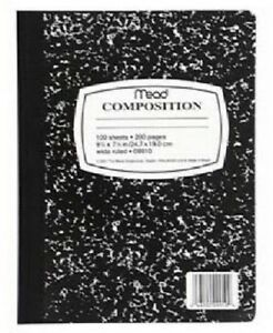 Mead 5 Pack 100 Page Wide Ruled Composition Book