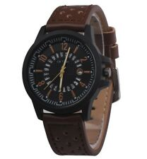 Men's Military Leather Date Quartz Analog Army Casual Dress Wrist Watches Brown