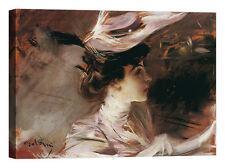 Giovanni Boldini Il cappellino nuovo Stampa su tela Canvas effetto dipinto