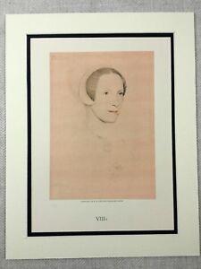 1911 Hans Holbein Portrait of a Woman Elizabeth Lady Audley Large Vintage Print