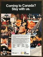 1972 CP Hotels Canada Print Ad Coming to Canada? Stay With Us
