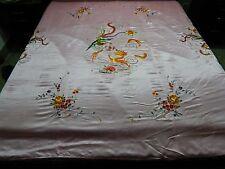 Antiguo chino espléndido Hoja de boda bordado a mano de seda Chal De Piano (X270)
