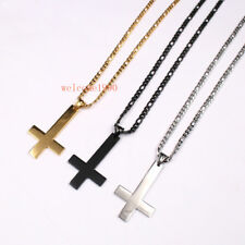 Mens Nk Chain Necklace Stainless Steel ReligionUpside down cross Pendant 24''