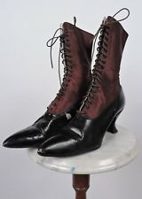 ANTIQUE VICTORIAN 19TH C BROWN SILK SATIN HIGH SHOES / BOOTS