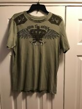 Express Mens Graphic Studded Crew neck T-Shirt Olive Green Size M