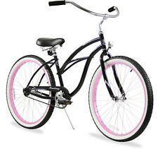 "Firmstrong Urban Limited Lady 26"" Beach Cruiser Bike Black w/pink Rims"